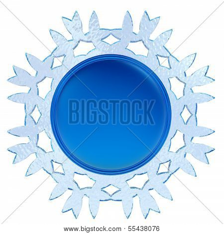 Abstract 3D Snowflake Label Isolated On White Background.