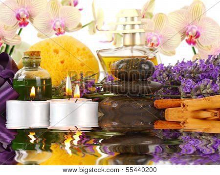 Accessories For Spa With Orchids, Lavender, Stones, Candles And Cinnamon