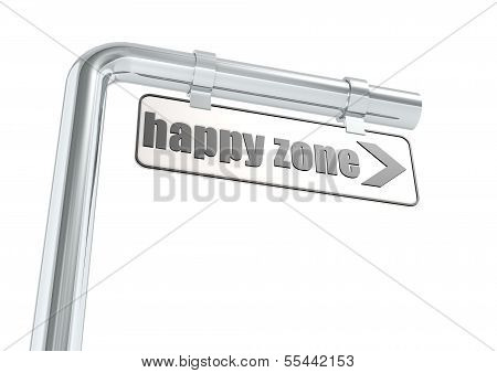 Happy zone street sign