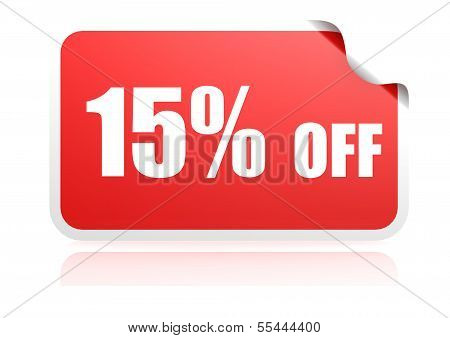 15 percent off sticker