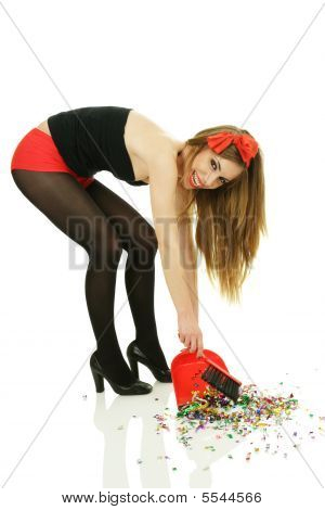 Smiling Woman Sweep Out Confetti