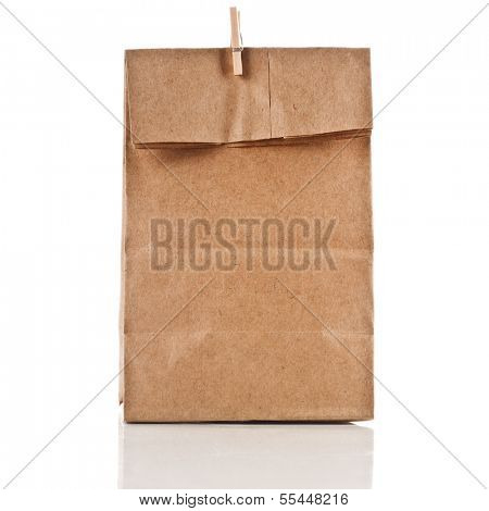paper bag with wooden clip  isolated on white background