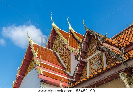 Gable Roof On Thai Temple In Wat Phra That Cho Hae