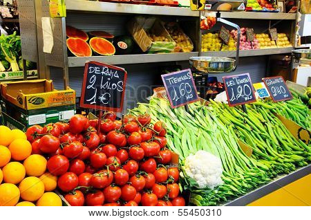 Fruit and veg stall, Malaga, Spain.