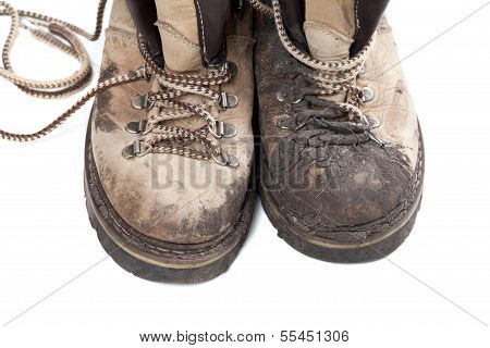 Old Dirty Trekking Boots Isolated On White Background