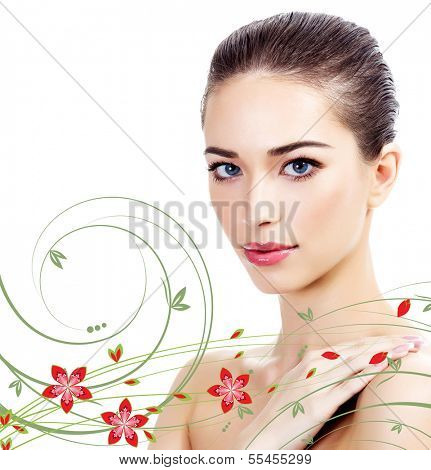 Beautiful girl with clean fresh skin, white background