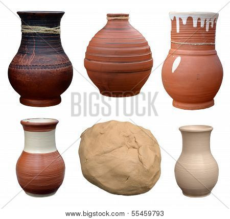 Set Isolated Pots Pottery Handmade In Ukrainian Folk Style And Piece Of Clay