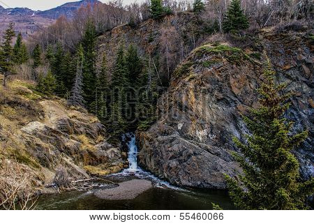 A Snow-melt Waterfall Near the Seward Highway (1) not far from Anchorage, Alaska