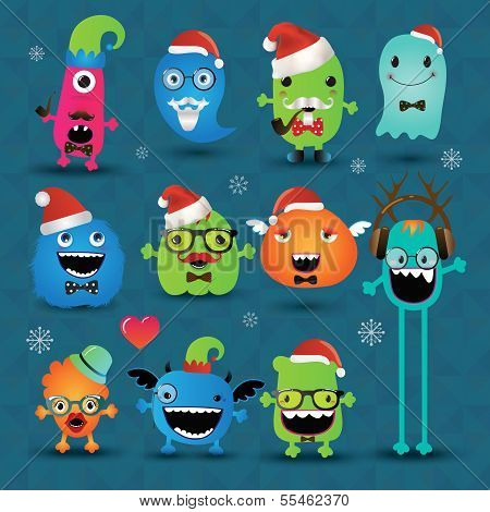 Vector Christmas Freaky Hipster Monsters Set Funny Illustration