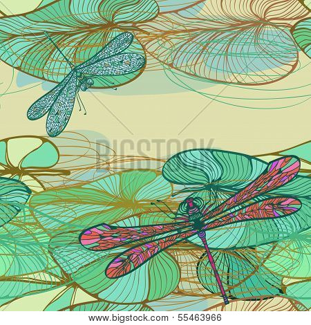 Seamless Vintage Floral Pattern With Lotus Leaves And Dragonflies