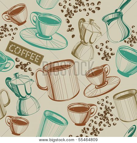 Seamless Hand Drawn Vintage Coffee Pattern