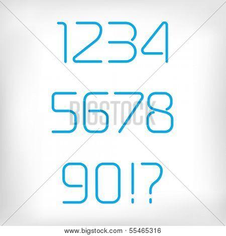Modern minimal rounded font alphabet (numbers/figures);  Sans-serif display elegant light font, vector alphabet letters design. Regular, normal version