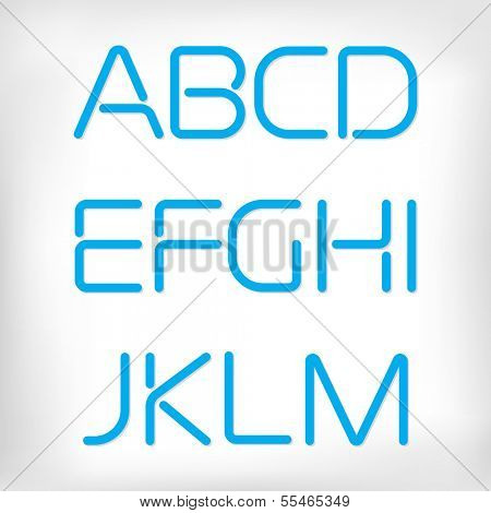 Modern minimal rounded font alphabet;  Sans-serif display elegant light font, vector alphabet letters design. Extra light, light, regular and bold versions included. Bold, heavy version
