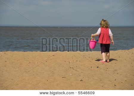 The Little Girl On Sea Beach