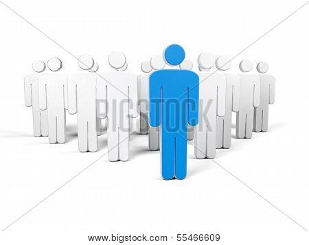 A Row Of White Human Figures In The First Row With A Blue Silhouette