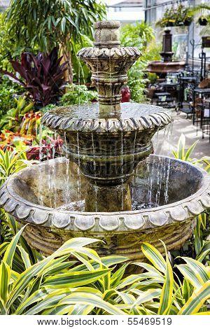 Concrete Fountain In Garden Center