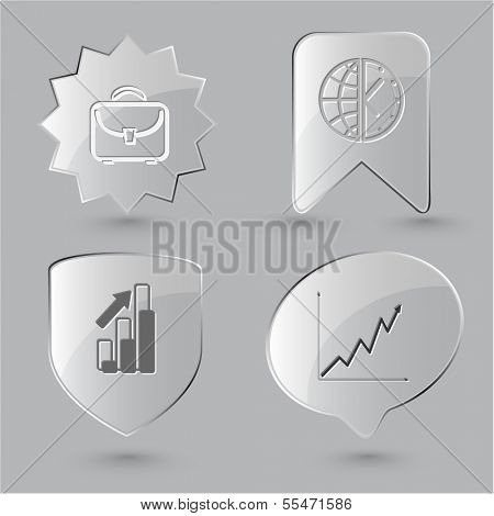 Business icon set. Briefcase, globe and clock, diagram. Glass buttons.