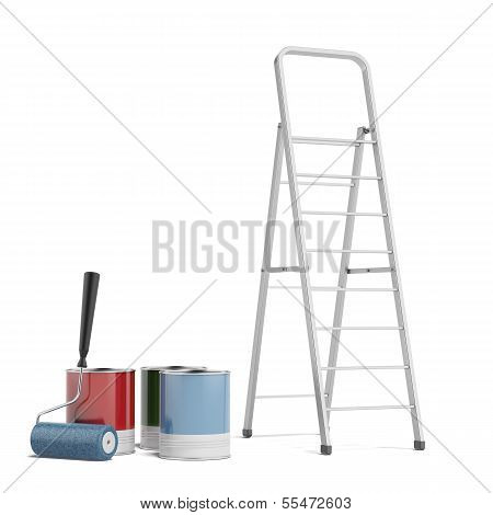 stepladder and paint