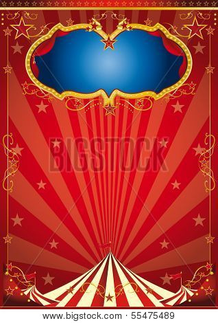 circus gold party. A red circus background for a poster.