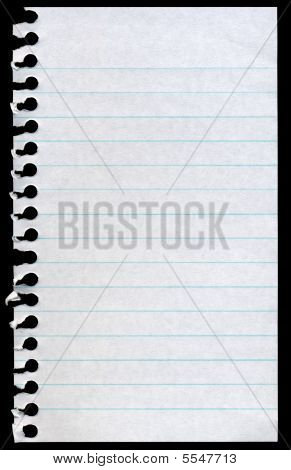 Blank Torn Notepaper Page Isolated On A Black Background.