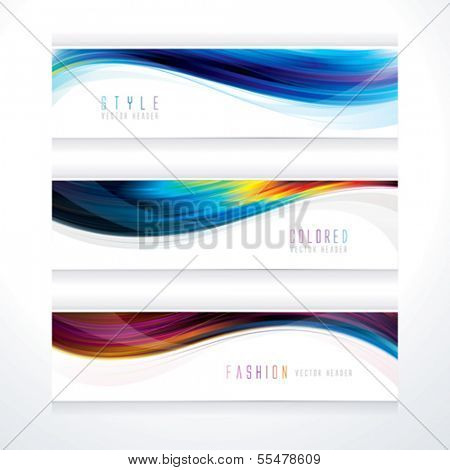 Banner header set of wavy line suitable for hairstyle.