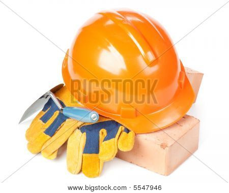 Building Bricks, Hard Hat, Trowel And Gloves
