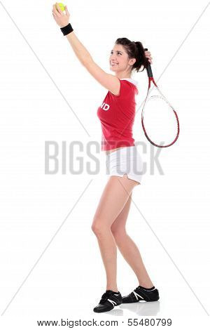 Isolated Studio Picture From A Young Woman With Tennis Racket