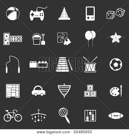 Toy Icons On Black Background