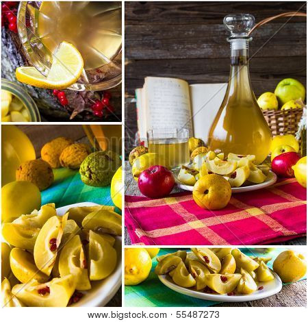 Collage Tincture Quince Fruit Alcohol Intake