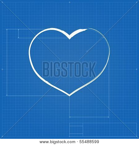 Heart symbol like blueprint drawing.
