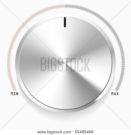 Volume music knob with metal texture. EPS10 vector illustration