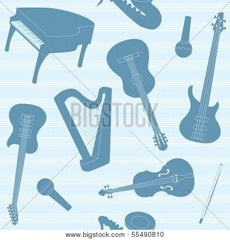 Striped pattern with musical instruments