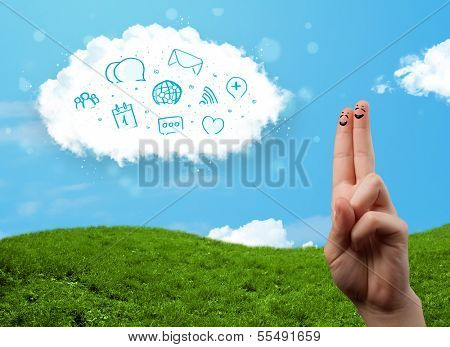 Happy cheerful smile fingers looking at cloud with blue social icons and smybols