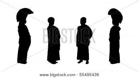 Young Buddhist Monks Silhouettes Set 1