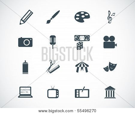 Vector black art icons set