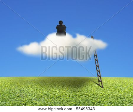 Businessman Sitting On Cloud With Wooden Ladder, Meadow And Sky