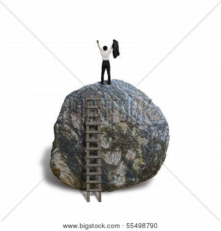 Cheered Businessman Climb On Top Of Large Rock, White Baqckground