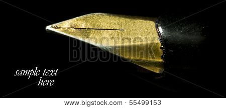 Macro Of Old Shiny Pen Nib