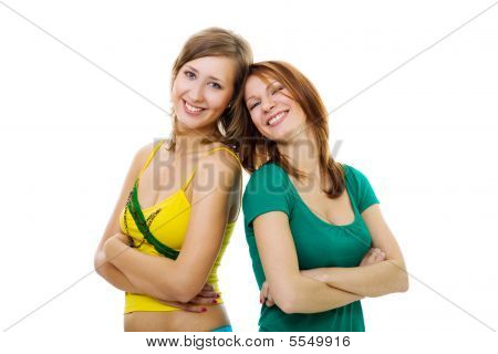 Two Woman Leaning On Each Other