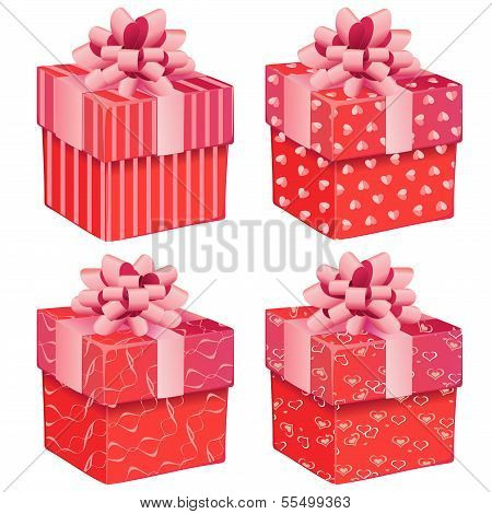 Four Pink Gift Boxes
