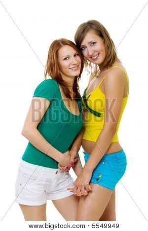 Two Woman Friends Standing Together
