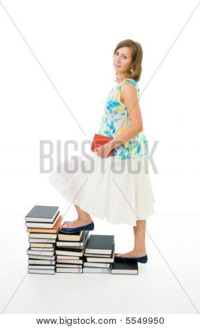Woman Climbing On Stairs Of Knowledge
