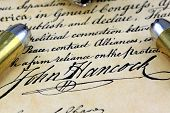 stock photo of bill-of-rights  - Ammunition on US Constitution John Hancock - JPG