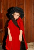 Serious Cute Little Boy In Medieval Costume Standing On Wooden Background poster