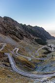 image of twisty  - A view down on the twisty part of Transfagarasan highway - JPG