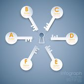 stock photo of keyholes  - illustration of different option key around keyhole of success infograph - JPG