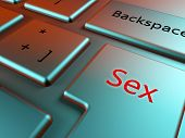 stock photo of prostitution  - Find sex online with a sex key in a elegant keyboard - JPG