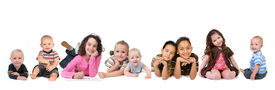 picture of children group  - Multiple Ethnicities of Children of all Ages on White Background - JPG