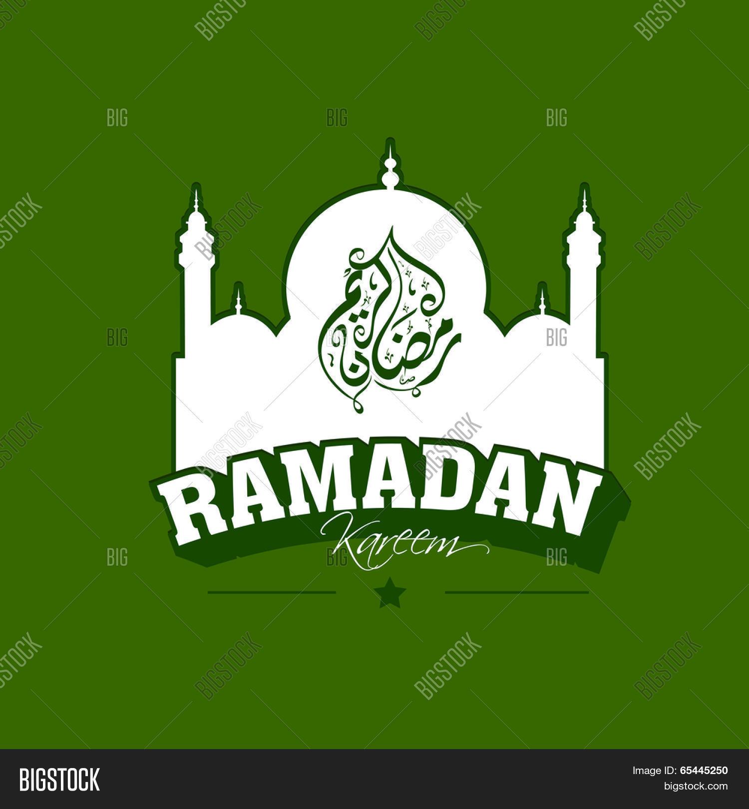 Mosque background for ramadan kareem stock photography image - Arabic Islamic Calligraphy Of Text Ramadan Kareem With Mosque On Green Background Vintage Flyer