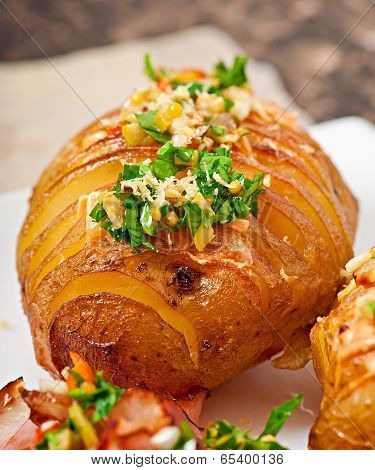 Baked potato with cheese and butter